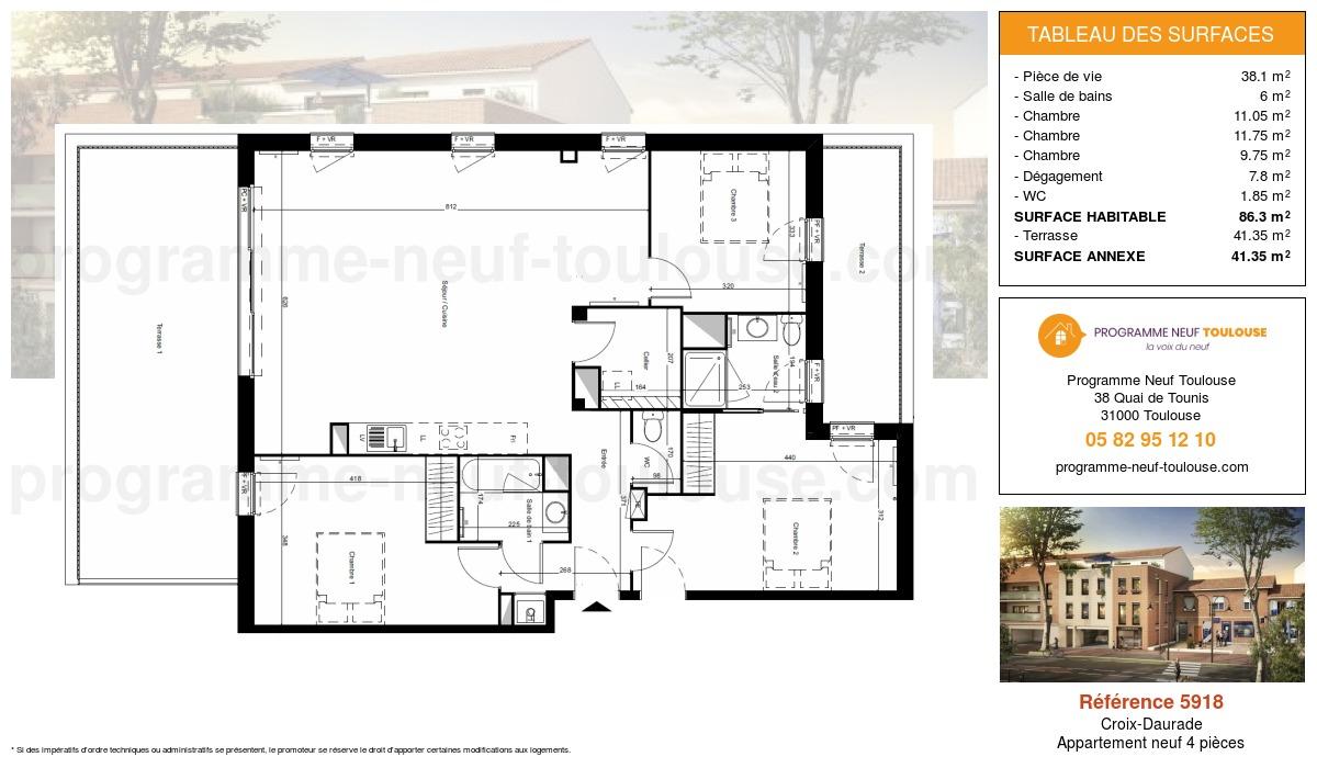 Plan pour un Appartement neuf de  86.3m² à Croix-Daurade
