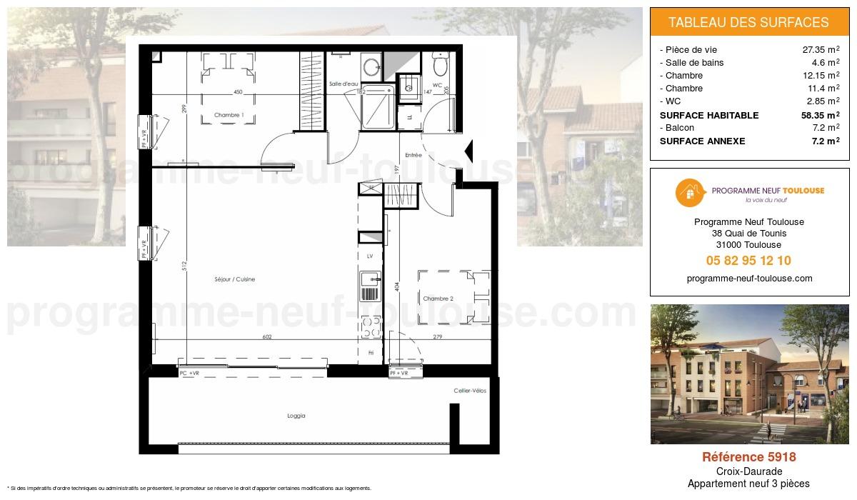 Plan pour un Appartement neuf de  58.35m² à Croix-Daurade