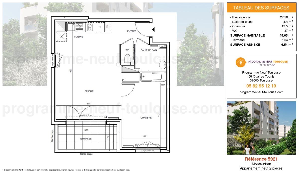 Plan pour un Appartement neuf de  45.65m² à Montaudran