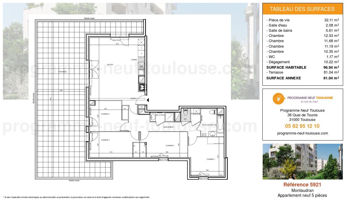Plan pour un Appartement neuf de  96.94m² à Montaudran