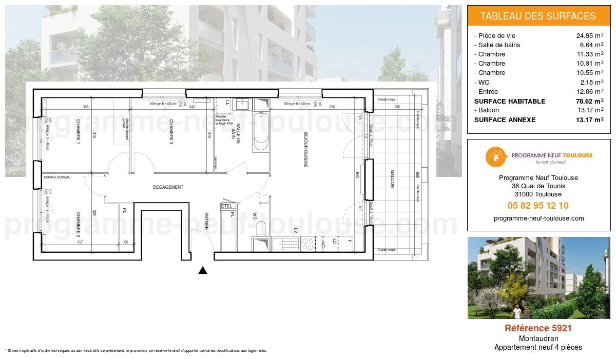 Plan pour un Appartement neuf de  78.61m² à Montaudran