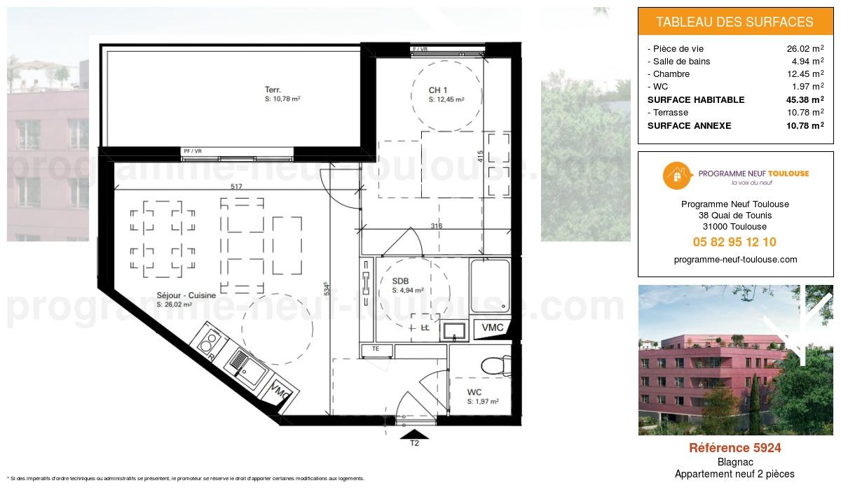 Plan pour un Appartement neuf de  45.38m² à Blagnac