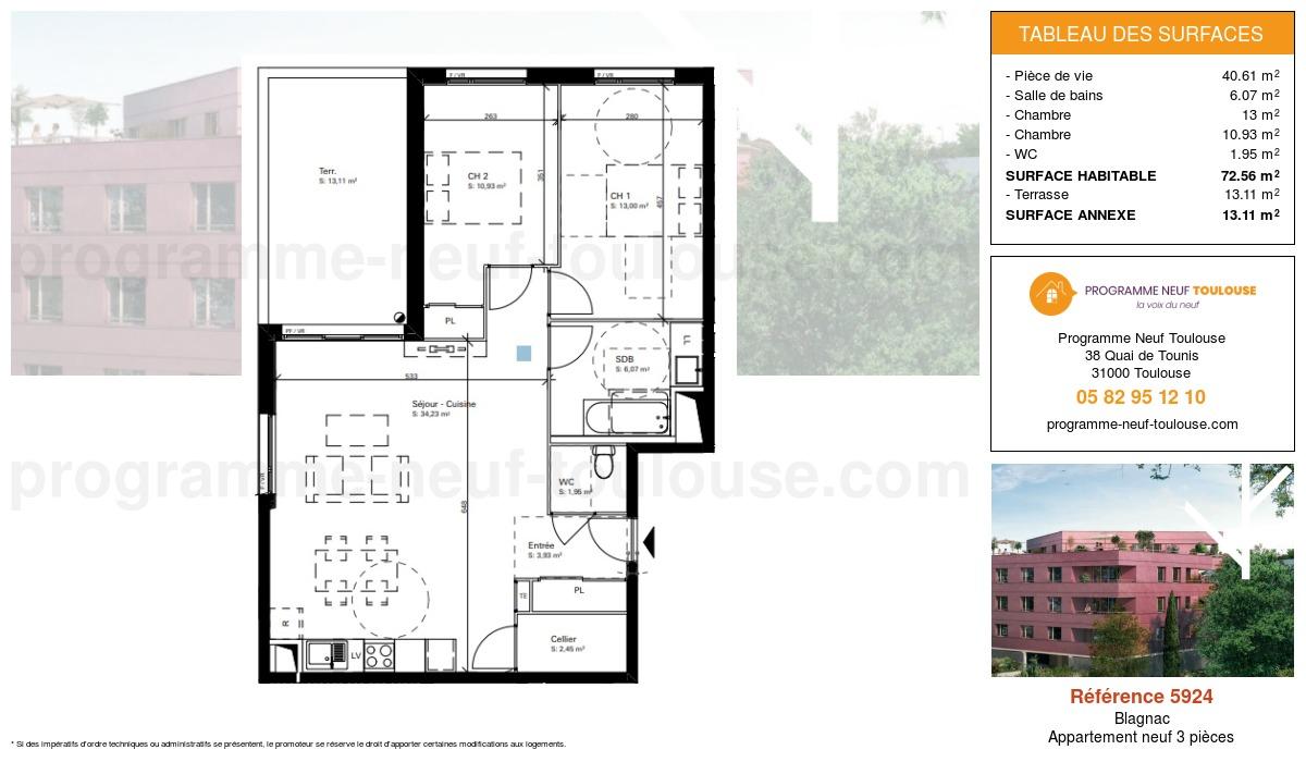 Plan pour un Appartement neuf de  72.56m² à Blagnac