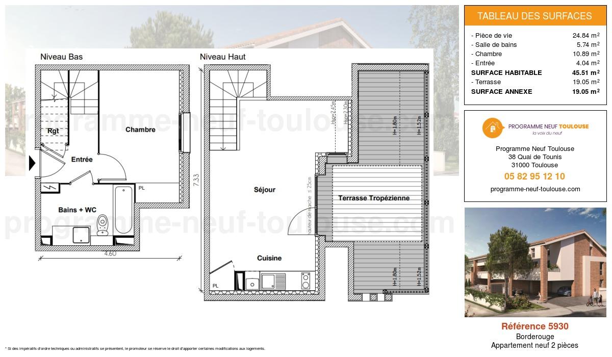 Plan pour un Appartement neuf de  45.51m² à Borderouge