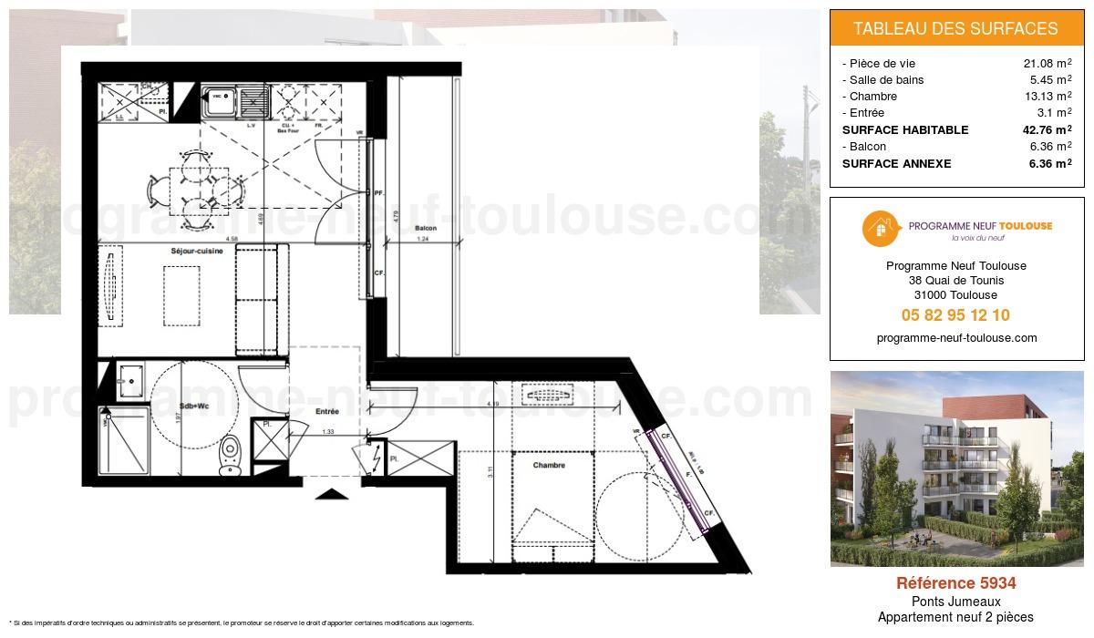 Plan pour un Appartement neuf de  42.76m² à Ponts Jumeaux