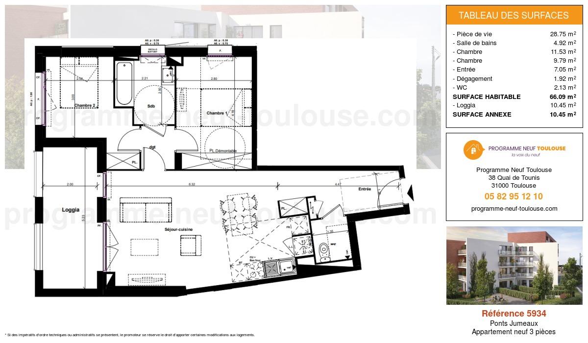 Plan pour un Appartement neuf de  66.09m² à Ponts Jumeaux
