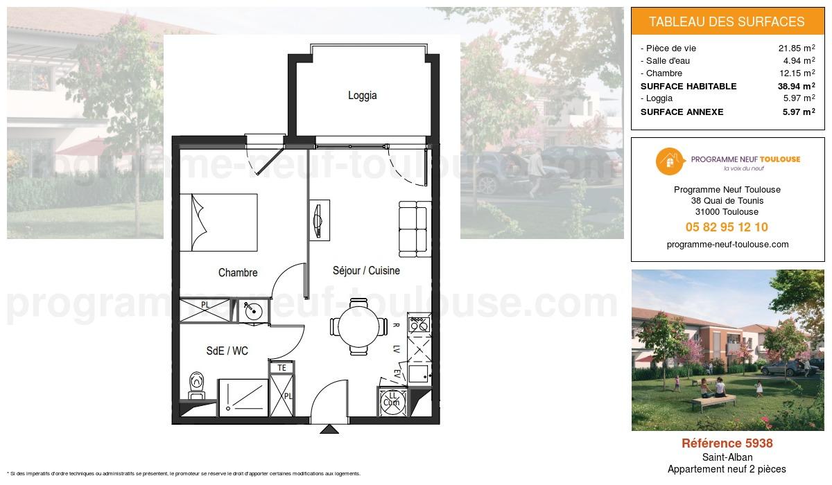 Plan pour un Appartement neuf de  38.94m² à Saint-Alban