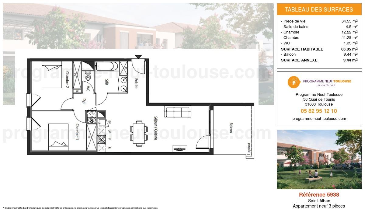 Plan pour un Appartement neuf de  63.95m² à Saint-Alban