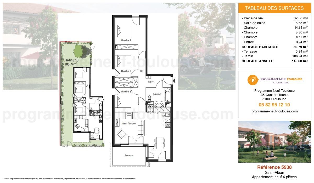 Plan pour un Appartement neuf de  80.79m² à Saint-Alban