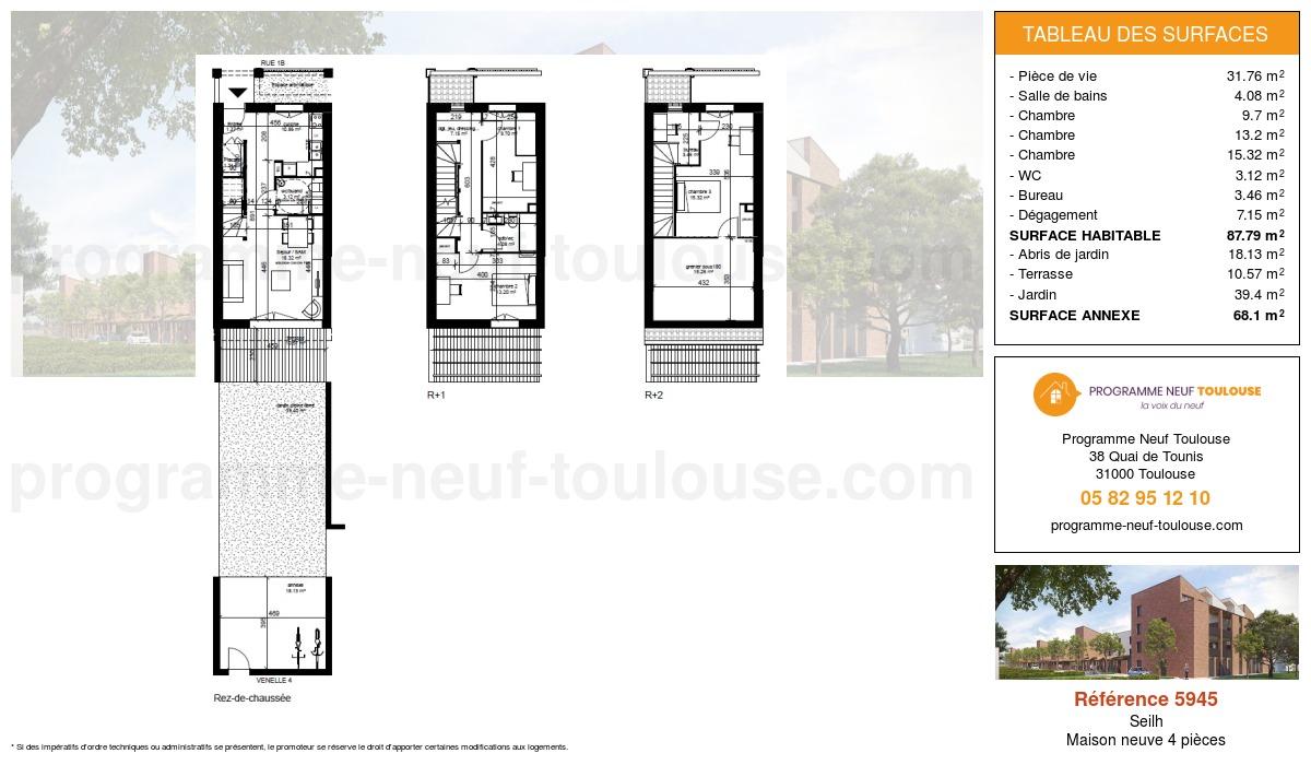 Plan pour un Maison neuve de  87.79m² à Seilh