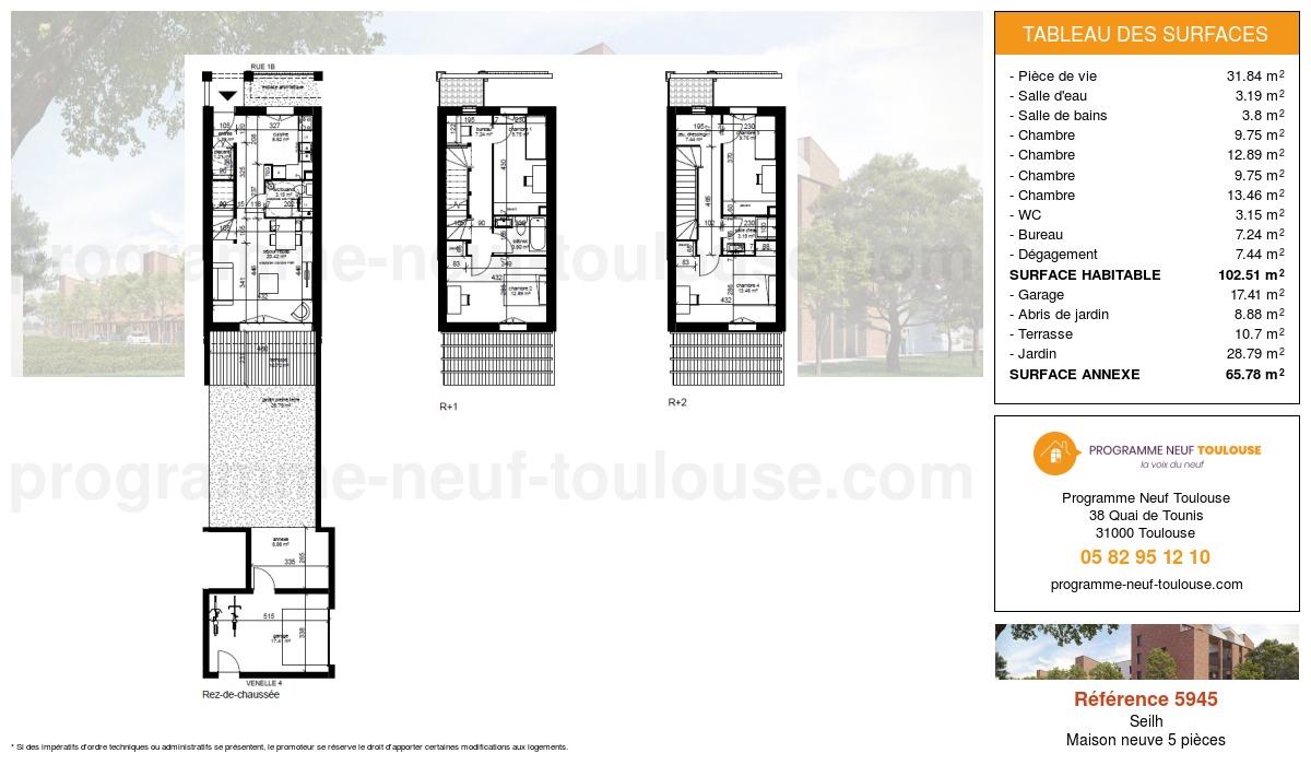 Plan pour un Maison neuve de  102.49m² à Seilh
