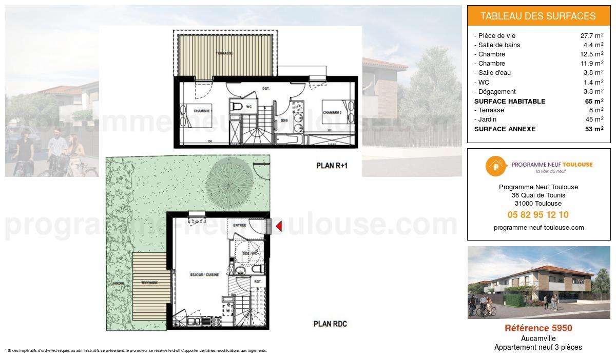 Plan pour un Appartement neuf de  65m² à Aucamville