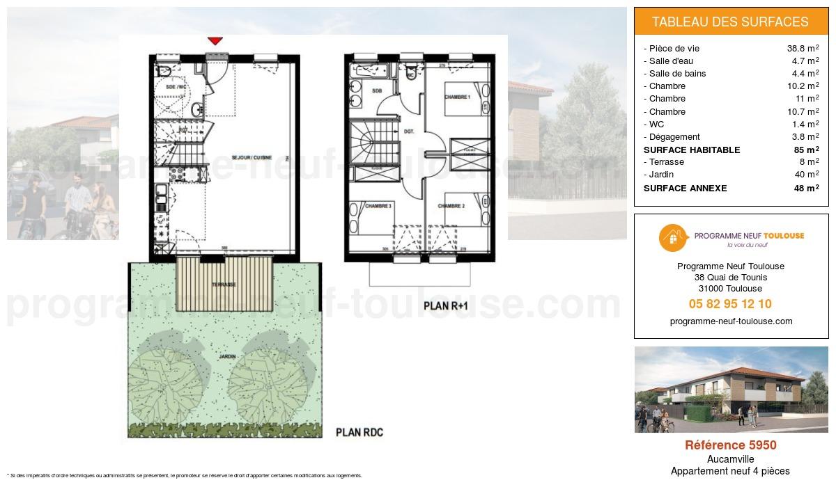 Plan pour un Appartement neuf de  85m² à Aucamville