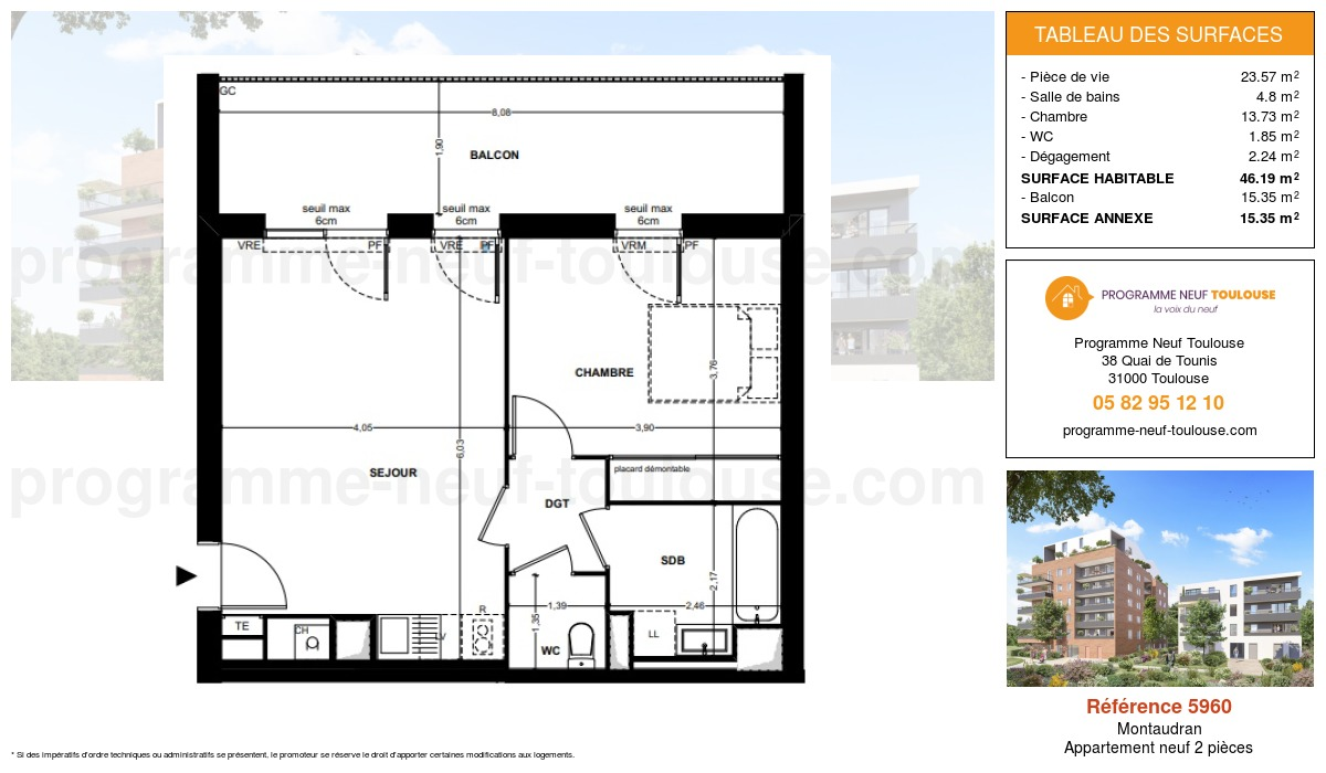 Plan pour un Appartement neuf de  46.19m² à Montaudran