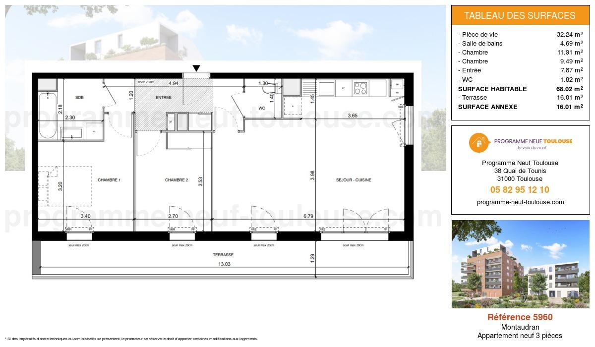 Plan pour un Appartement neuf de  68.02m² à Montaudran