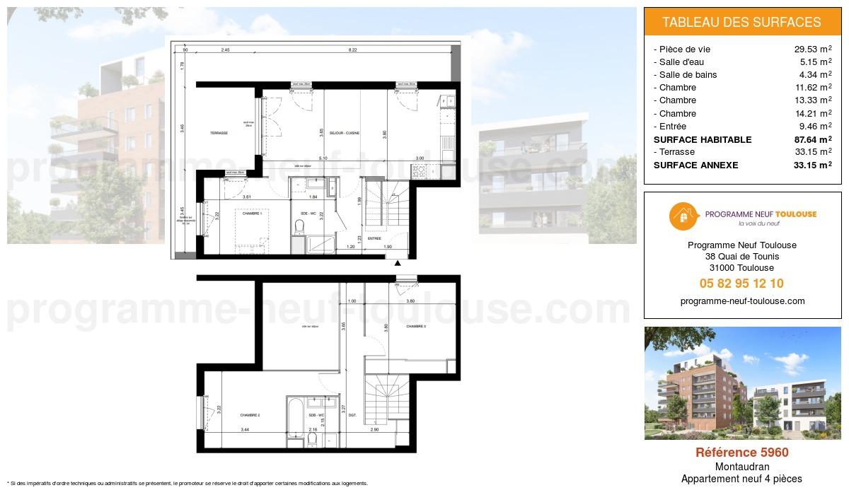 Plan pour un Appartement neuf de  96.59m² à Montaudran