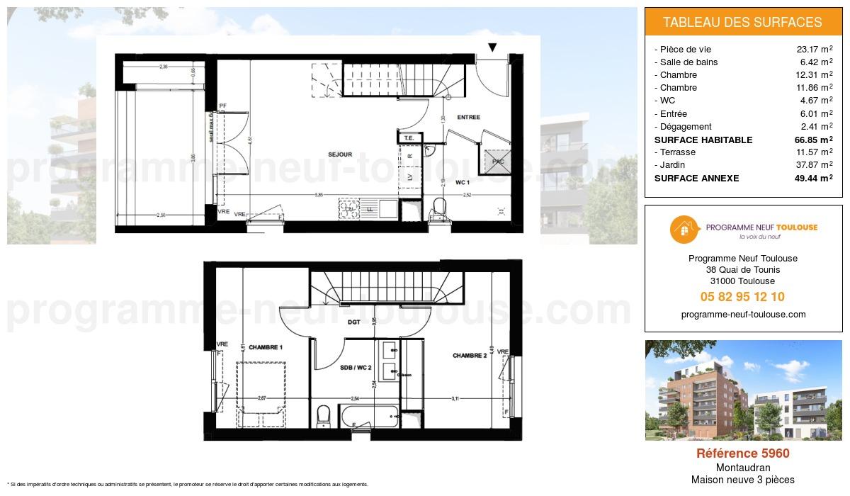Plan pour un Maison neuve de  66.85m² à Montaudran
