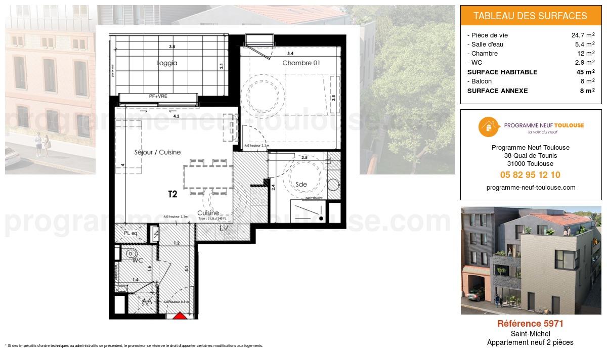Plan pour un Appartement neuf de  45m² à Saint-Michel