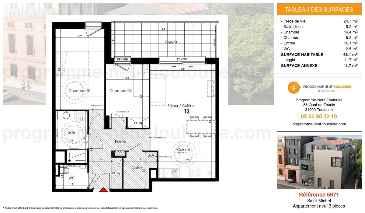 Plan pour un Appartement neuf de  68.1m² à Saint-Michel