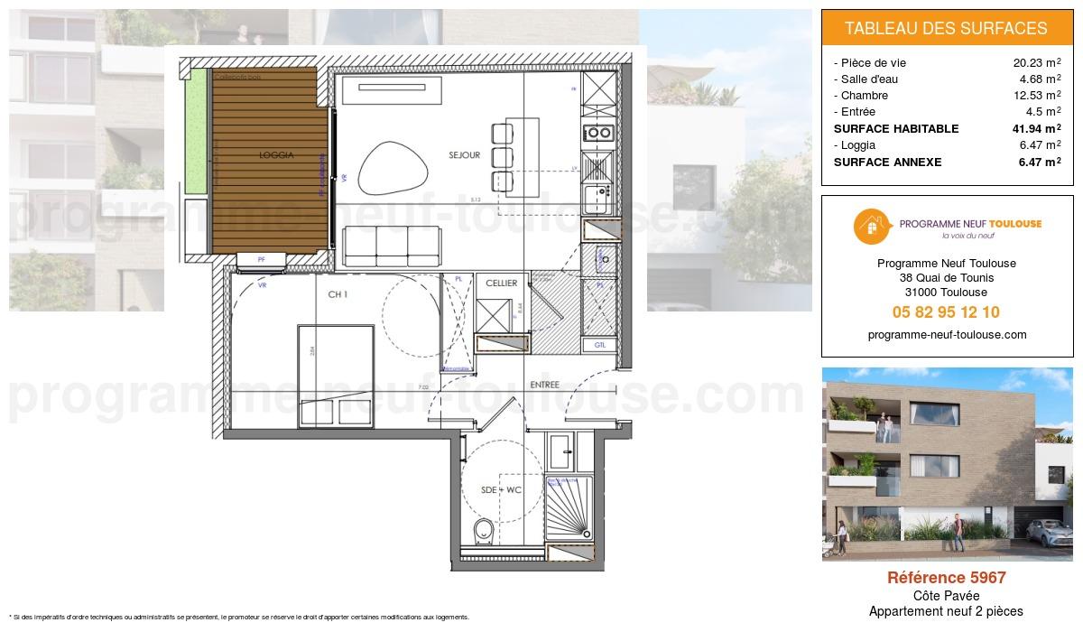 Plan pour un Appartement neuf de  41.25m² à Côte Pavée