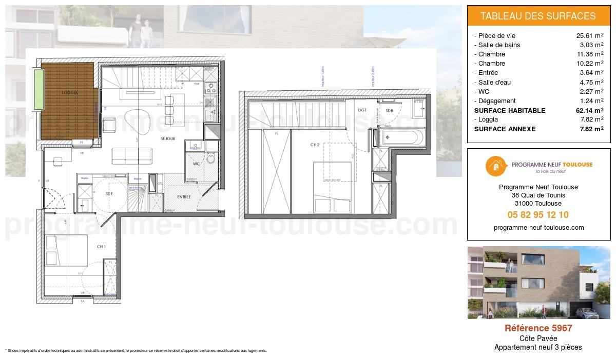 Plan pour un Appartement neuf de  62.15m² à Côte Pavée