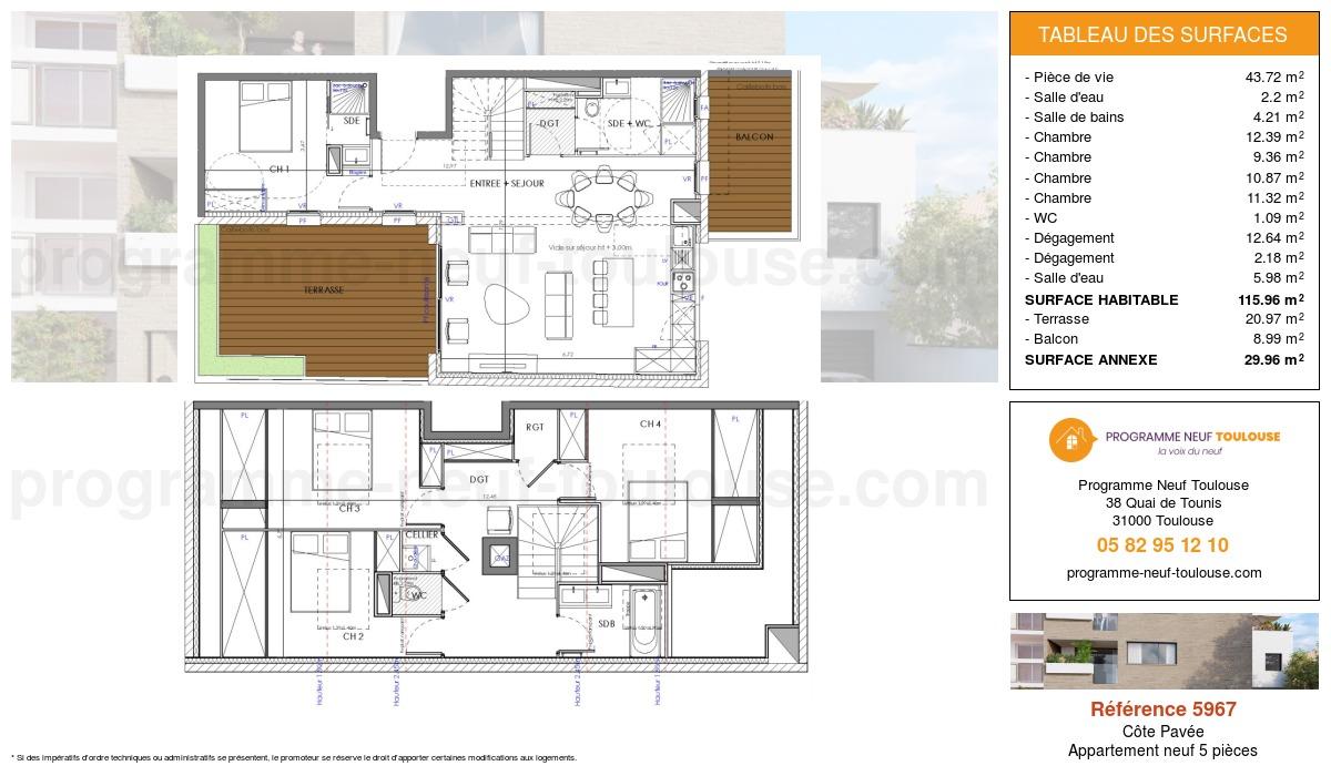 Plan pour un Appartement neuf de  115.96m² à Côte Pavée