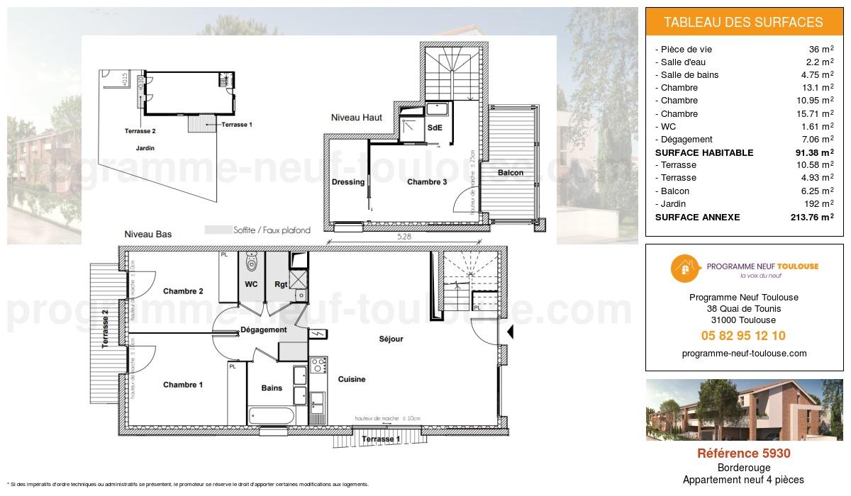 Plan pour un Appartement neuf de  91.38m² à Borderouge