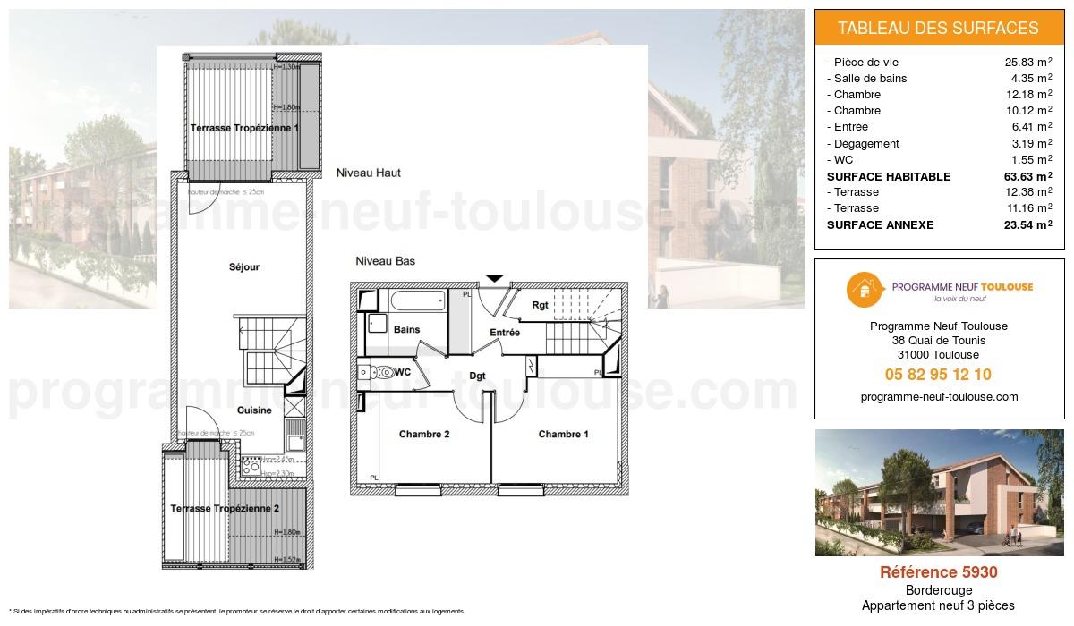 Plan pour un Appartement neuf de  63.63m² à Borderouge