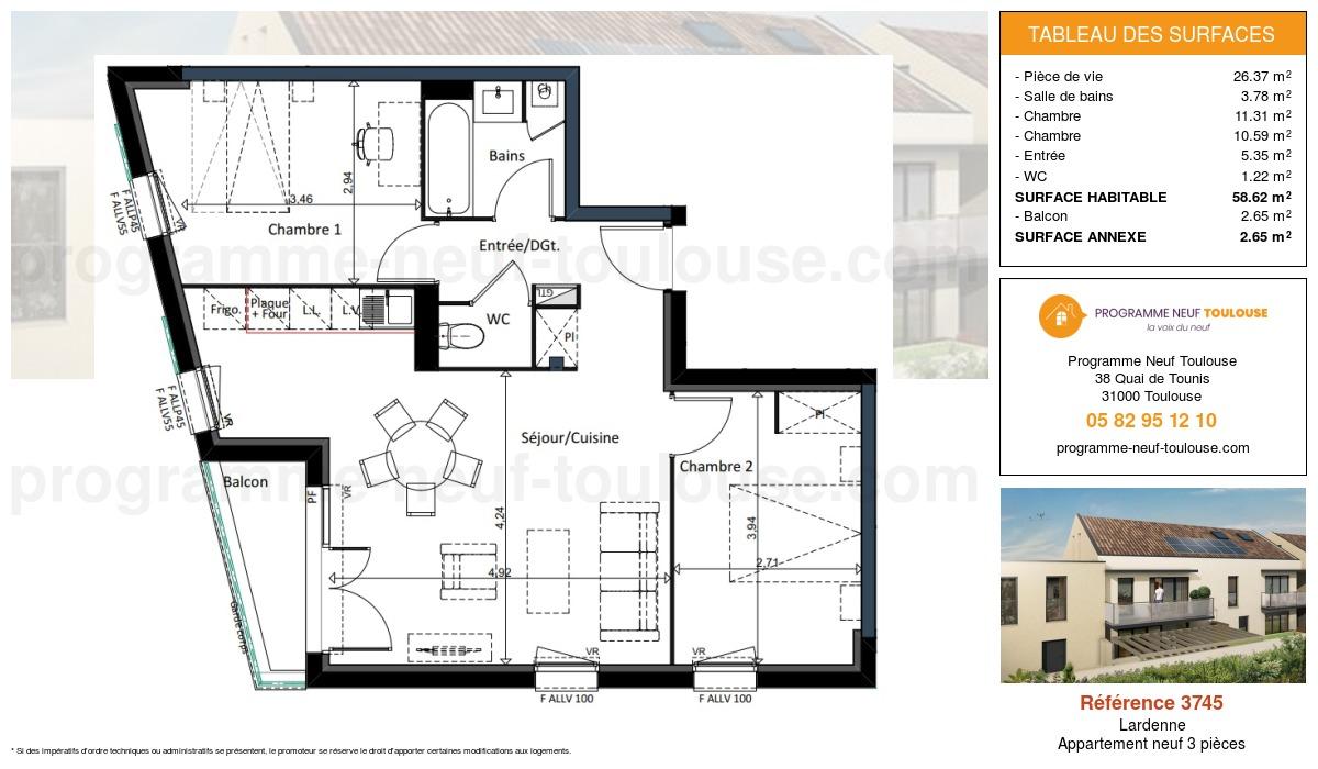 Plan pour un Appartement neuf de  58.62m² à Lardenne