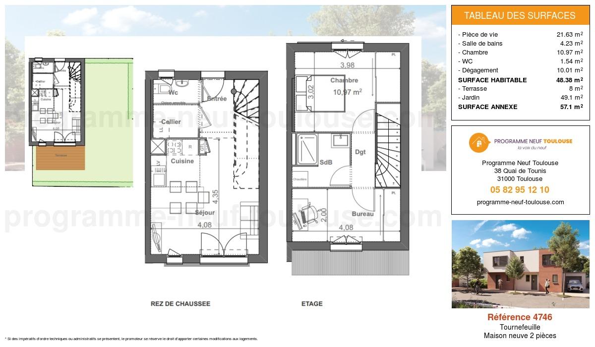 Plan pour un Maison neuve de  48.38m² à Tournefeuille